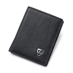 Genuine Leather Mini Wallets Men Small Wallet  Cowhide Card Holder Short Purse black one size