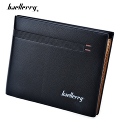 Baellerry Old Classical Style Dot Stripe Business Men Short Clutch Wallet Photo Cash Card Holder black horizontal