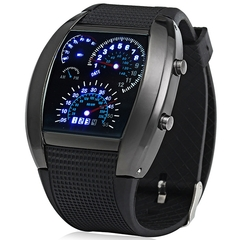 Rubber Band LED Car Watch / Table with Blue Light Display Time Arch Shaped black one size