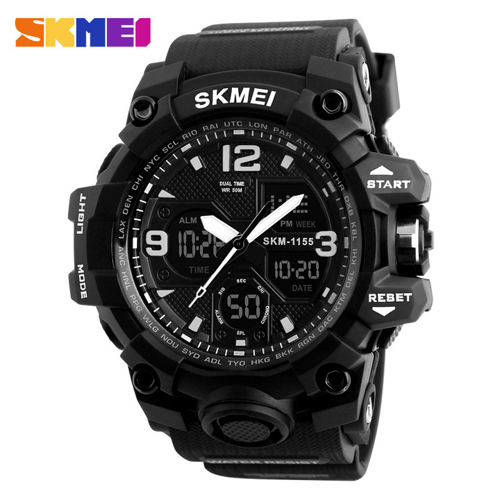 Fashion Men Sports Watches Men Quartz LED Digital Clock Man Waterproof Watch black one size