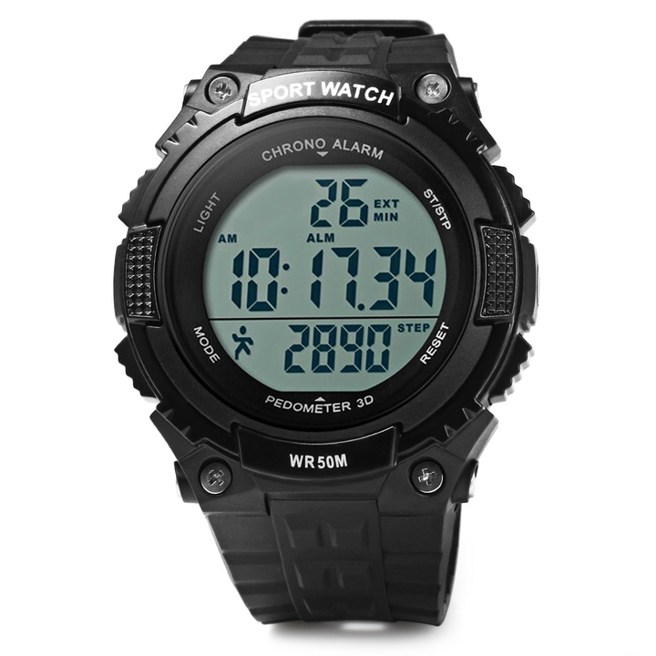 Skmei 1112 Multifunctional 3D Pedometer Male Wristwatch with PU Band black one size