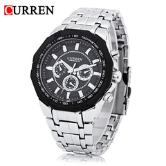Curren 8084 Male Quartz Watch Luminous Pointer 3ATM Decorative Sub-dial Wristwatch black silver one size