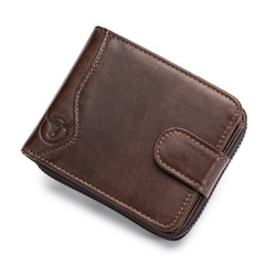 Genuine Leather Men Wallet Fashion Coin Purse Card Holder rfid Wallet Male Clutch Zipper Clamp Money coffee horizontal one size