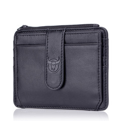 Genuine Leather Zipper Card Holder Credit Card Wallet Mini Slim Wallet Card Id Holders Man Business black one size
