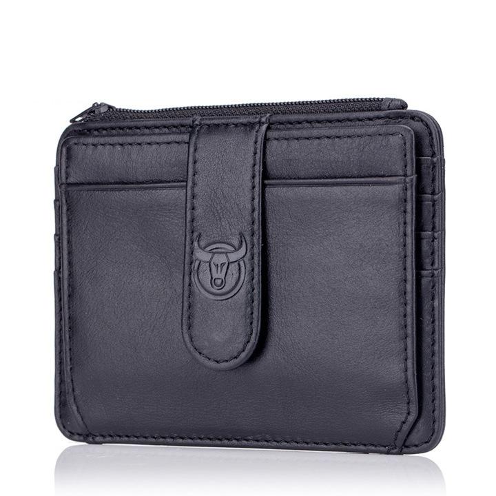 Genuine Leather Zipper Card Holder Credit Card Wallet Mini Slim Wallet Card Id Holders Man Business black one size