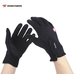 Robesbon Paired Unisex Outdoor Bicycle Screen Windproof Warm Riding Gloves black m