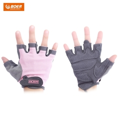 BOER Paired Body Building Fitness Weightlifting Half Finger Gloves for Women pink m