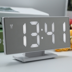 Digital Mirror Surface Alarm Clock with Large LED Display USB Port for Bedroom whtie one size