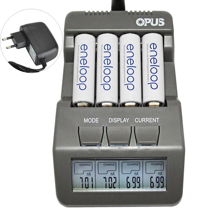 Opus BT-C700 NiCd NiMh LCD Digital Intelligent 4 Slots Battery Charger gray eu plug