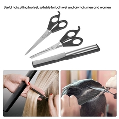 3Pcs/set Hair Cutting Thinning Scissor Set Hair Scissors Hair Comb Set Hairdressing Shears Hair Comb as picture one size