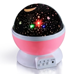 Kids Gift Bedroom Romantic LED Table Lamp Rotary Flashing Starry Star Moon Sky Star Projector Lamp pink one size