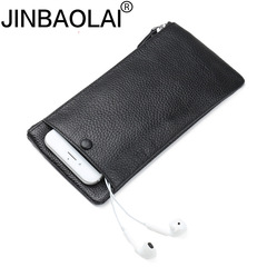 Genuine Leather Women Purse Cell Phone Pocket Fashion Long Purses Men Wallet Male Clutch Wallets black one size