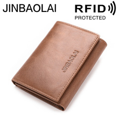 Men RFID Blocking Genuine Leather Wallets Short Women Clutch Cowhide Credit Card Holder Purses light brown one size
