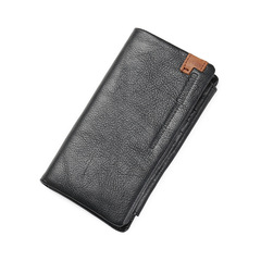 Business Style Men Wallets Fashion Long Wallet Cell Phone Pocket Male Card Holder Purse Clutch black one size