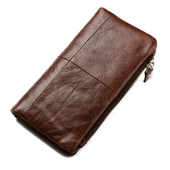 Vintage Cowhide Men Wallet Coin Purse Card Holder Genuine Leather Male Long Wallet Cell Phone Pocket coffee one size