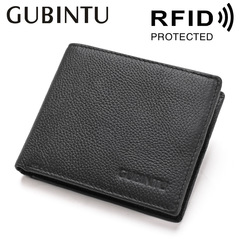 Fashion Men Wallets Genuine Leather Wallet High Quality Short  Purses Male Credit Card Holder black one size