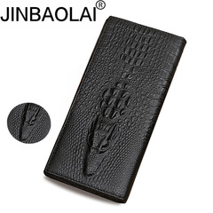 Men Long Wallets Retro Genuine Leather Alligator Head Grain ID Card Holder Slot Coin Purse black one size