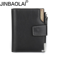 Fashion Short PU Leather Men Wallet Bifold Wallets Male Card Holder Coin Pocket Purse black one size