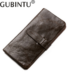Genuine Leather Men Long Wallet Vintage High Capacity Card Holder Male Coin Purse Cell Phone Pocket coffee one size