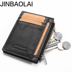 Card Holder Genuine Leather Fashion Wallet Men Credit Card Holder Women zipper Purse Coins black one size