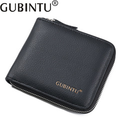 Vintage Genuine Leather Cowhide Men Short Wallet Purse Card Holder Coin Pocket Male Wallets black one size