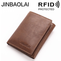 Genuine Cow Leather Men Wallet Fashion Hasp Men Purse High Quality Male Card ID Holder brown one size