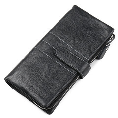 Business Style Fashion Hasp Zipper Genuine Leather Men Wallet Phone Pocket Card Holder Long Wallets black one size