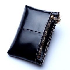 High Quality Genuine Leather Women Mini Wallet Oil Wax Leather Coin Purse Coin Credit Card Holder black one size