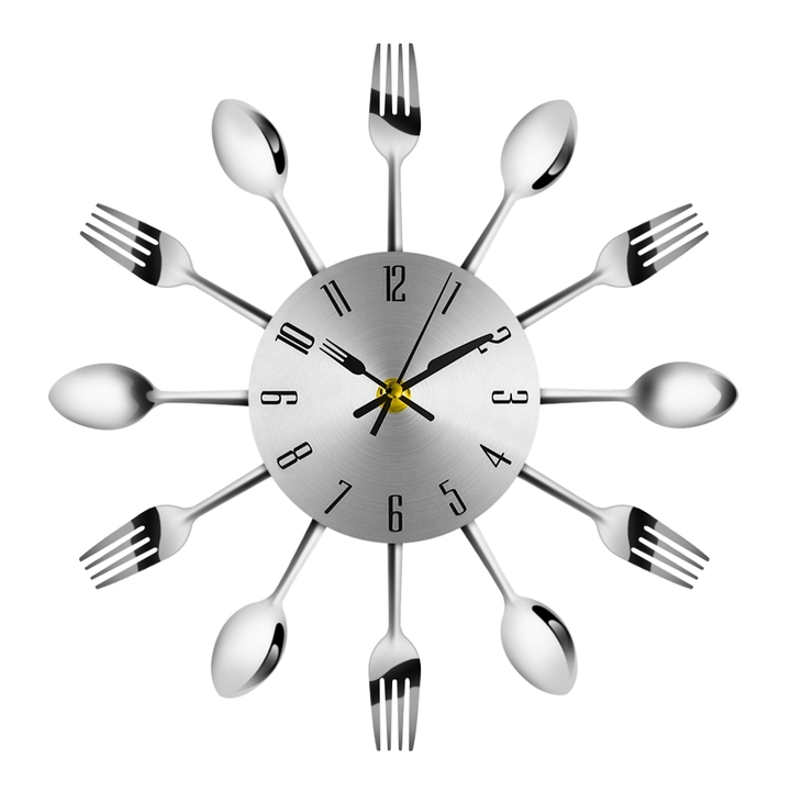 Modern Stainless Steel Knife Fork Wall Clock Analog for Home Office Novel Spoon Analog Home Decor silver one size
