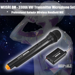 WEISRE Professional Karaoke Wireless Microphone Handheld Dual Channel VHF Transmitter Microphone Set balck AAA battery one size