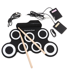 Portable Electronic Drum Digital USB 7 Pads Roll up Drum Set Silicone Electronic Drum Pad Kit Sticks