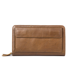 Men Clutch Male Genuine Leather Wallet Double Zipper Money Clip Purse Cowhide Cell Phone Pocket brown one size