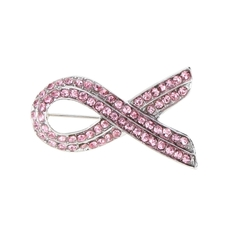 Fashion Jewelry Elegant Pink Shining Rhinestone Crystal Awareness Ribbon Brooch Pin as picture one size