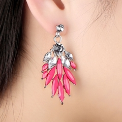1 Pair Fashion Elegant Lady Attractive Resin Rhinestone Earrings Ear Stud Jewelry Accessory as picture one size