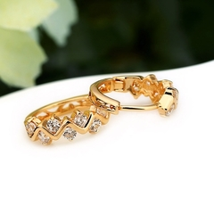 1Pair Clear Crystal Zircon 18K Gold Plated Wave Hollow Hoop Earrings Jewelry Gift for Women Lady as picture one size