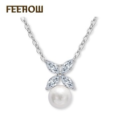 FEEHOW AAA zircon simple pearl necklace white one size