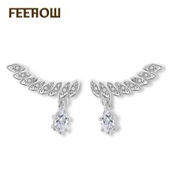 FEEHOW European and American fashion torus shape crystal earrings white one size