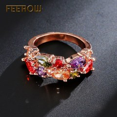 FEEHOW Mona Lisa series AAA zircon wedding ring rose gold 6