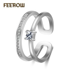 FEEHOW creative zircon plated platinum ring white one size