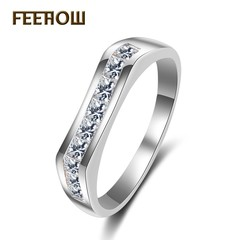 FEEHOW inlaid zircon ring ring white 7