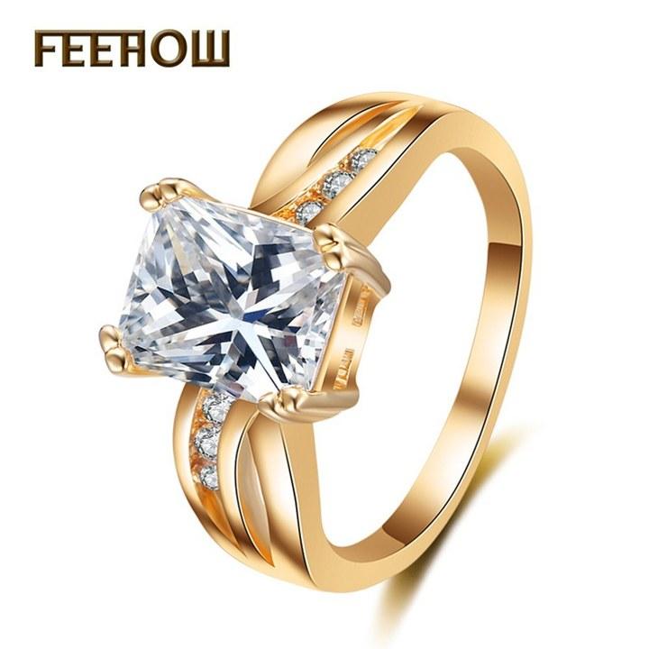 FEEHOW classic zircon female diamond ring golden 7