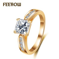 FEEHOW Fashion Jewelry Wedding Wedding Jewelry Temperament Rings golden 7