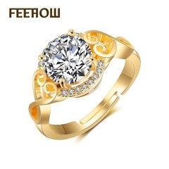 FEEHOW fashion Korean version of the new Ruyi ring golden one size