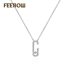 FEEHOW AAA zircon square opening wild necklace white one size