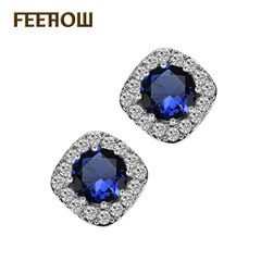 FEEHOW Korean version of fashion exquisite and elegant earrings blue one size