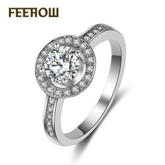 FEEHOW elegant fashion micro-inlaid zircon ring white 7