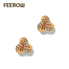 fashion jewelry geometric shape micro-inlaid zircon earrings golden one size