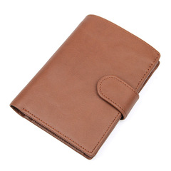 Men Genuine Leather Wallet Cowhide Clutch Card Holder Bag Money Pocket Large Capacity Short Purse brown one size
