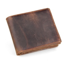 Genuine Leather Men Credit Card Holder Money Holder Fashion Casual Short Purse Classic Design Wallet deep brown one size