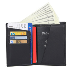 Man Genuine Leather Passport Clip Wallet Unisex Passes Banknote Women Credit Card Holder Case Purse black one size